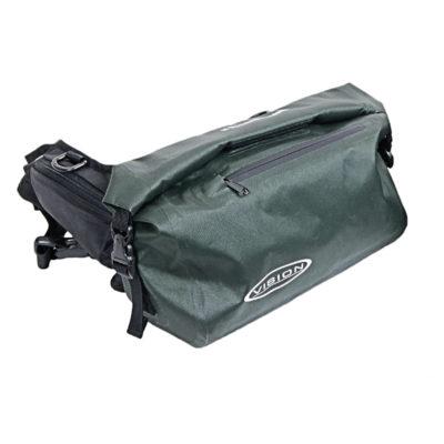 vision aqua handless green bag